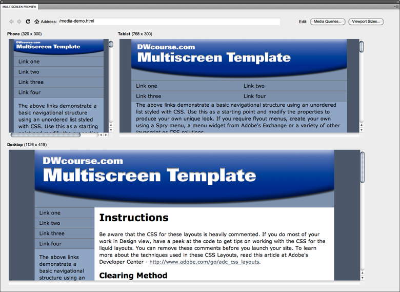 Multiscreen preview